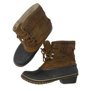Sorel Rubber Sole Suede Upper Faux Fur Lined Ankle Winter Boots US 10